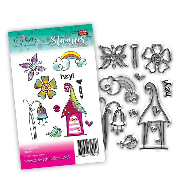 Clear Stamp Rainbow Wishes